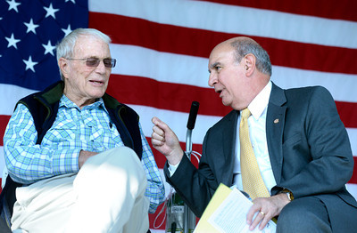 Commander Scott Carpenter, at left, talks with University of Colorado Chancellor Phil DiStefano on Thursday, Sept. 20, during the Scott Carpenter Park Re-dedication ceremony in Boulder. For more photos and video of the ceremony go to www.dailycamera.com Jeremy Papasso/ Camera