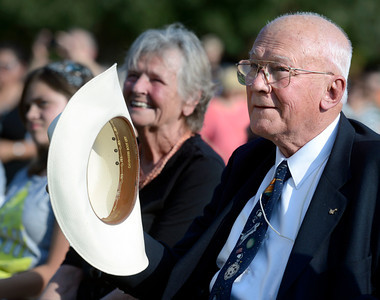 Astronaut Bruce McCandless takes his hat off after being recognized by Commander Scott Carpenter on Thursday, Sept. 20, during the Scott Carpenter Park Re-dedication ceremony in Boulder. For more photos and video of the ceremony go to www.dailycamera.com Jeremy Papasso/ Camera