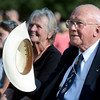 "Astronaut Bruce McCandless takes his hat off after being recognized by Commander Scott Carpenter on Thursday, Sept. 20, during the Scott Carpenter Park Re-dedication ceremony in Boulder. For more photos and video of the ceremony go to  <a href=""http://www.dailycamera.com"">http://www.dailycamera.com</a><br /> Jeremy Papasso/ Camera"
