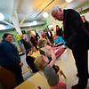 KRISTOPHER RADDER - BRATTLEBORO REFORMER <br /> Harley Quinn G, 3, of Brattleboro, in the Early Head Start room, joyfully shows United States Sen. Bernie Sanders her drawing during a visit to Brattleboro Town School District's Early Education Services, in Brattleboro, Vt., on Friday, Jan. 26, 2018.