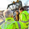 KRISTOPHER RADDER — BRATTLEBORO REFORMER<br /> New Hampshire Sen. Jeanne Shaheen (D-N.H.)  talks with New Hampshire Department of Transportation offficals  while visiting the bridges in Hinsdale, N.H., that cross the Connecticut River into Vermont on Friday, Dec. 20, 2019.