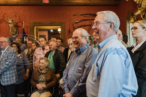 Supporters of Senator John Cornyn look on as he speaks during a Republican voting rally on Super Tuesday, March 3, 2020, at Texas City Music in Tyler.