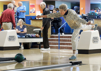 Mary Alice Bissell, 91, of Broomfield, shows her skills during a senior bowling league on Monday, Oct. 15, at Chipper Lanes in Broomfield. For more photos and video of the bowling league go to www.dailycamera.com  Jeremy Papasso/ Camera