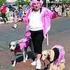 """""""The Pink Ladies"""" walked in the 2013 Zionsville Fall Festival parade. The parade's theme was """"Rock Around the Clock."""""""