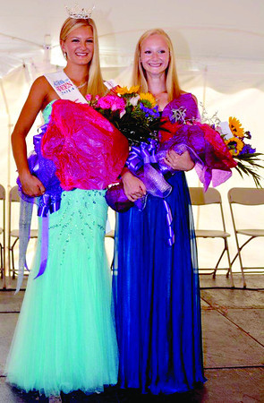 Paige Harder, at left, won the Miss Fall Festival Outstanding Teen competition Sunday, Sept. 8. Her platform was care of the elderly. Mary Petersen, at right, was named first runner-up.