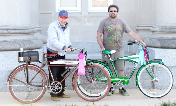 The bicycle winners were from left People's Choice and Lamar and Lamar Insurance's Choice, Bob Vernon, with his 1934 Elgin bicycle Mayor's Choice, Morris Turner, with his Schwinn bicycle.