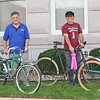 BICYCLE BONANZA<br /> Elizabeth Pearl | The Lebanon Reporter<br /> RIBBONS FOR RIDES: The winners of this year's Back to the Fifties Festival Hoosier Antique and Classic Bike Show were, from left, Don Jones, sponsor's choice; Roger Masters, people's choice; Richard Peglow, mayor's choice; and Wayne Miller, committee's choice.
