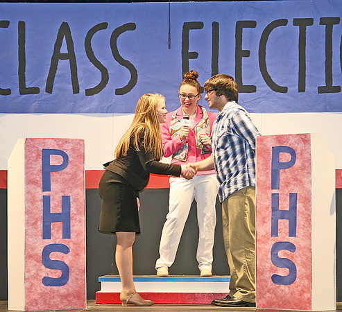"WEBO TAKES ON CLASS ELECTION<br /> Elizabeth Pearl | The Lebanon Reporter<br /> THE GREAT DEBATERS: From left, Western Boone Jr.-Sr. High School students Heather Clark, Izzy Wade and Ricky Bardales star in Webo's upcoming production of ""The Election."" The show will take place Saturday at 7 p.m. and Sunday at 2 p.m. Tickets are $5."
