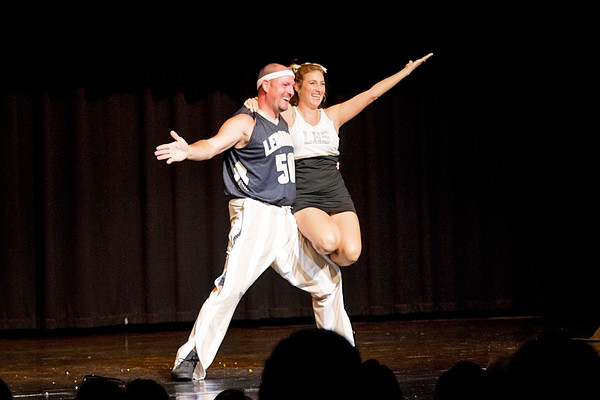 "Sarah Lang | The Lebanon Reporter<br /> ONE, TWO, STEP: Lebanon High School teacher Dave Ferrell and his wife, Phyllis, came in third place at the 2015 Dancing with the Boone County Stars competition. They danced the cha-cha to ""Cheerleader."""