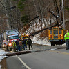 KRISTOPHER RADDER — BRATTLEBORO REFORMER<br /> A section of Route 30, in Townshend, Vt., was closed after a pickup truck went off the road striking a utility pole and causing it to fall onto a school bus that was carrying children home on Wednesday, Nov. 28, 2018. No injuries were reported but the driver and passenger inside the pickup truck was transported to Grace Cottage for evaluation.