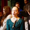 BEN GARVER — THE BERKSHIRE EAGLE <br /> Wahconah Regional High School band director Brian Rabuse and choir director Rebecca Hoffman lead the school band and choir in a rehearsal of Sgt. Pepper's Lonely Hearts Club Band, Tuesday, March 15, 2017. The singer in the closeup is Madyson Williams.