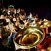 BEN GARVER — THE BERKSHIRE EAGLE <br /> Wahconah Regional High School band director Brian Rabuse and choir director Rebecca Hoffman lead the school band and choir in a rehearsal of Sgt. Pepper's Lonely Hearts Club Band, Tuesday, March 15, 2017.