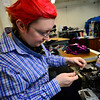 KRISTOPHER RADDER — BRATTLEBORO REFORMER<br /> Eli K Coughlin-Galbraith and Krista ES Coughlin-Galbraith, owners of Shapeshifters at the Cotton Mill in Brattleboro, create chest binders and sports bras for non-gender and binary people.