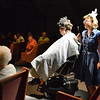 Elizabeth Huddle, right, playing Nadine, talks to Matt Martin, playing Emmett McElroy, while giving him a shave during Saturday's performance of Hometown Memories a Shepard of Love Fellowship melodrama dinner theater production .<br /> August 11, 2012<br /> staff photo/ David R. Jennings