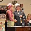 The hero and heroine Shana Preisler, left, playing Betty Jo, and Dave Kellett, playing Detective Walter McBride chat during Saturday's performance of Hometown Memories a Shepard of Love Fellowship melodrama dinner theater production .<br /> August 11, 2012<br /> staff photo/ David R. Jennings