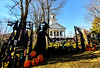 Newfane Anew Community Volunteers installed a 60' array of haunted house silhouettes along the Commons in the village of Newfane, Vt.