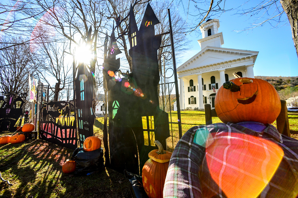 . Newfane Anew Community Volunteers installed a 60\' array of haunted house silhouettes along the Commons in the village of Newfane, Vt.