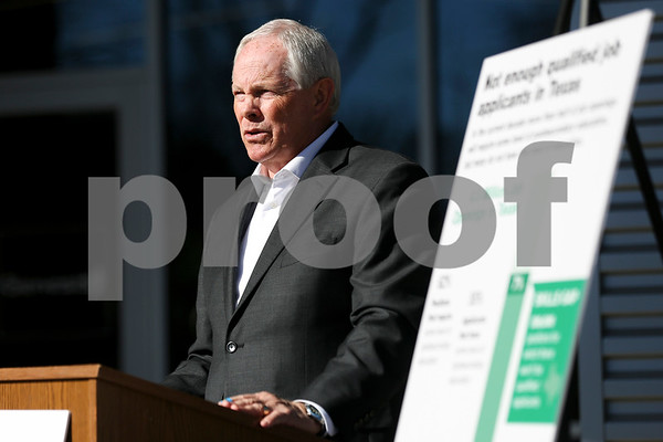 Bob Westbrook, president of WR Ventures and chairman of the Tyler Chamber Commerce, speaks during a press conference at Genesis Offices in Tyler, Texas, on Thursday, Feb. 16, 2017. Local business leaders discussed the projected skills gap that the state of Texas faces as outlined in the Ensuring Texas' Global Success report from ReadyNation and how early education programs can help address the issue. (Chelsea Purgahn/Tyler Morning Telegraph)