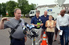 Skippack Fire Company Chief Haydn Marriott updates media following hazmat incident on North Gorski Lane.   Monday Juy 14, 2014.  Photo by Geoff Patton
