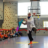 "KRISTOPHER RADDER - BRATTLEBORO REFORMER<br /> Ted Lawrence, known as Dr. Quinton Quark, performs ""Slapstick Science"" in front of students at Academy School on Tuesday, Feb. 27, 2018. The program helped teach students about physics while making it very entertaining."