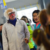"""KRISTOPHER RADDER - BRATTLEBORO REFORMER<br /> Ted Lawrence, known as Dr. Quinton Quark, performs """"Slapstick Science"""" in front of students at Academy School on Tuesday, Feb. 27, 2018. The program helped teach students about physics while making it very entertaining."""