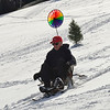 KRISTOPHER RADDER - BRATTLEBORO REFORMER<br /> Tom Pereira, of Vernon skis down the hill at Living Memorial Park on a custom-made chair ski on Tuesday, Jan. 9, 2018. Pereira made upgrades to the stirring of the prototype and added a spinning wheel from last year.