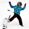 "Loreann Loau, 8, bails out during  a day of sledding at a hill near Sunset Middle School on Sunday Feb. 24, 2013.<br /> For more photos sledding, go to  <a href=""http://www.timescall.com"">http://www.timescall.com</a>.<br /> Cliff Grassmick / February 24, 2013"