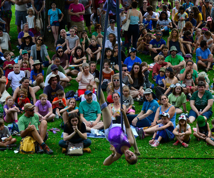 KRISTOPHER RADDER - BRATTLEBORO REFORMER<br /> People gather to watch a performance from the New England Center for Circus Arts on the Retreat Lawn during the Slow Living Expo on Saturday, June 2, 2018.