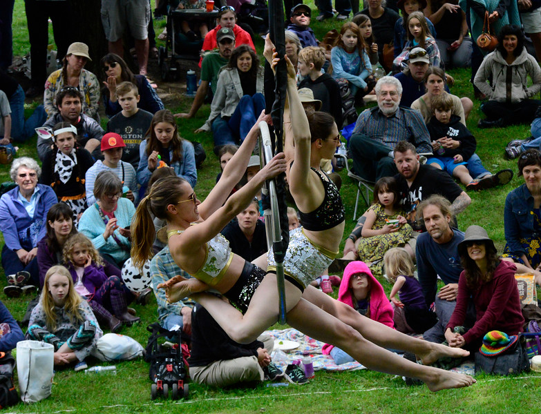 KRISTOPHER RADDER - BRATTLEBORO REFORMER<br /> Laura Schoop and Katie Schmidt perform to an audience during the Strolling of the Heifers Slow Living Expo in Brattleboro, Vt., on Saturday, June 3, 2017.