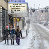 KRISTOPHER RADDER - BRATTLEBORO REFORMER<br /> Three sisters, Roxanna, Clara, and Rio Daims, walk down Main Street in Brattleboro during Thursday's snowstorm.