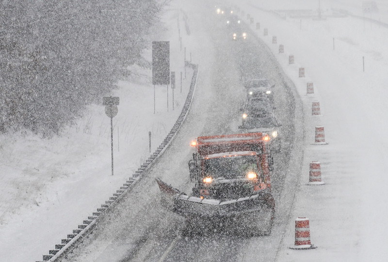 KRISTOPHER RADDER - BRATTLEBORO REFORMER<br /> Snowplows try to keep the I-91 roadways clear during Thursday's snowstorm.