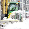 BEN GARVER — THE BERKSHIRE EAGLE<br /> Zach Levesque clears the sidewalks in West Stockbridge, Mass., Mass., Monday, December 2, 2019. Ben Garver/ The Berkshire Eagle