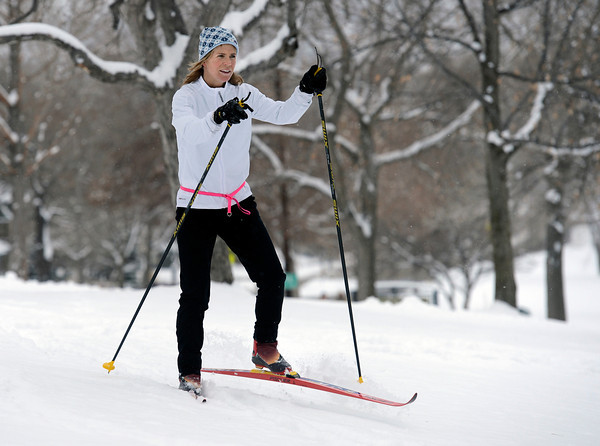 "Sandra Krizek, of Boulder, enjoys of the fresh snow while cross-country skiing at North Boulder Park on Wednesday, Dec. 19, in Boulder. For more photos of the snow storm go to  <a href=""http://www.dailycamera.com"">http://www.dailycamera.com</a><br /> Jeremy Papasso/ Camera"