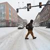KRISTOPHER RADDER - BRATTLEBORO REFORMER <br /> James Primrose crosses Main Street in Brattleboro as the snow falls on Wednesday, Feb. 7, 2018.