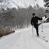 KRISTOPHER RADDER - BRATTLEBORO REFORMER <br /> Katherine Barratt skis on Spruce Street in Brattleboro.