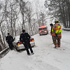 KRISTOPHER RADDER - BRATTLEBORO REFORMER <br /> Emergency crews responded to a single motor vehicle accident on Cedar Street, in Brattleboro, for a car that slide into the guardrail.