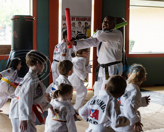 Master Dometrius Hill leads the Tiny Tigers Taekwondo class at Songahm Martial Arts Academy in Tyler on July 1, 2020.