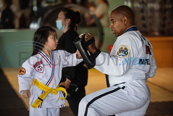 Noah Bui, 6, trains with Master Dometrius Hill at Songahm Martial Arts Academy in Tyler on July 1, 2020.