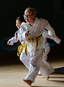 Noah Bui, 6 and Ava Ward, 7, train in the Tiny Tigers class at Songahm Martial Arts Academy in Tyler on July 1, 2020.