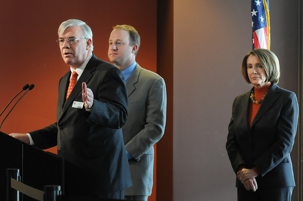 Broomfield Mayor Pat Quinn, left, answers questions with Congressman Jared Polis and Speaker of the House Nancy Pelosi about  the Hwy. U.S. 36 transportation corridor at the 1stBank Center on Monday.<br /> <br /> March 1, 2010<br /> Staff photo/David R. Jennings