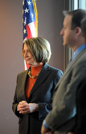 Speaker of the House Nancy Pelosi, left, and Congressman Jared Polis wait to answer questions after a round table discussion about the Hwy. U.S. 36 transportation corridor at the 1stBank Center on Monday.<br /> <br /> March 1, 2010<br /> Staff photo/David R. Jennings