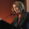 Speaker of the House Nancy Pelosi answers transportation questions in relation to the Hwy. U.S. 36 transportation corridor at the 1stBank Center on Monday.<br /> <br /> March 1, 2010<br /> Staff photo/David R. Jennings