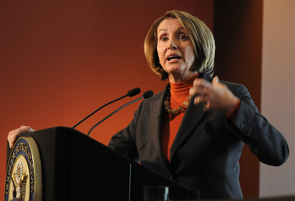 Speaker of the House Nancy Pelosi answers questions after a round table on the Hwy. U.S. 36 transportation corridor at the 1stBank Center on Monday.<br /> <br /> March 1, 2010<br /> Staff photo/David R. Jennings