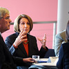 Speaker of the House Nancy Pelosi chats with Broomfield Mayor Quinn, left, and Heather Berry, Colorado Transportation Commission during a round table discussion about the Hwy. U.S. 36 transportation corridor at the 1stBank Center on Monday.<br /> <br /> March 1, 2010<br /> Staff photo/David R. Jennings