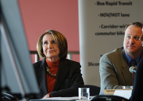 Speaker of the House Nancy Pelosi, left, and Congressman Jared Polis listen to Broomfield Mayor Pat Quinn's presentation during the  round table discussion about the Hwy. U.S. 36 transportation corridor at the 1stBank Center on Monday.<br /> <br /> March 1, 2010<br /> Staff photo/David R. Jennings