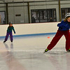 KRISTOPHER RADDER - BRATTLEBORO REFORMER<br /> Silas Wickenden, 9, and his sister Elana, 6, race against each other while speed skating at Nelson Withington Skating Facility on Sunday, Feb. 4, 2018.