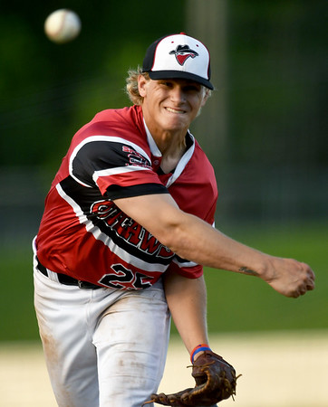 Outlaws pitcher Hunter Wienhoff throws from the mound during  Joplin's game against Jefferson City on Wednesday night at Joe Becker Stadium.<br /> Globe | Laurie Sisk
