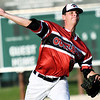 Joplin pitcher John Boushelle throws from the mound during the Outlaws' game against Cassville on Wednesday night at Joe Becker Stadium.<br /> Globe | Laurie Sisk