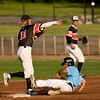 Outlaws Jeff Wetzler completes the front end of a successful double play as Sedalia's Jordan Wright slides into the base during their game on Wednesday night at Joe Becker Stadium.<br /> Globe | Laurie Sisk
