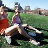 "Keron Hoetzel, left, sits with her friend Abbi Nelson, right, after spending time with her family in Philadelphia on Sunday, April 1, 2012. Boulder. <br />  For more photos of the game visit  <a href=""http://www.dailycamera.com"">http://www.dailycamera.com</a><br /> Photo by Derek Broussard"